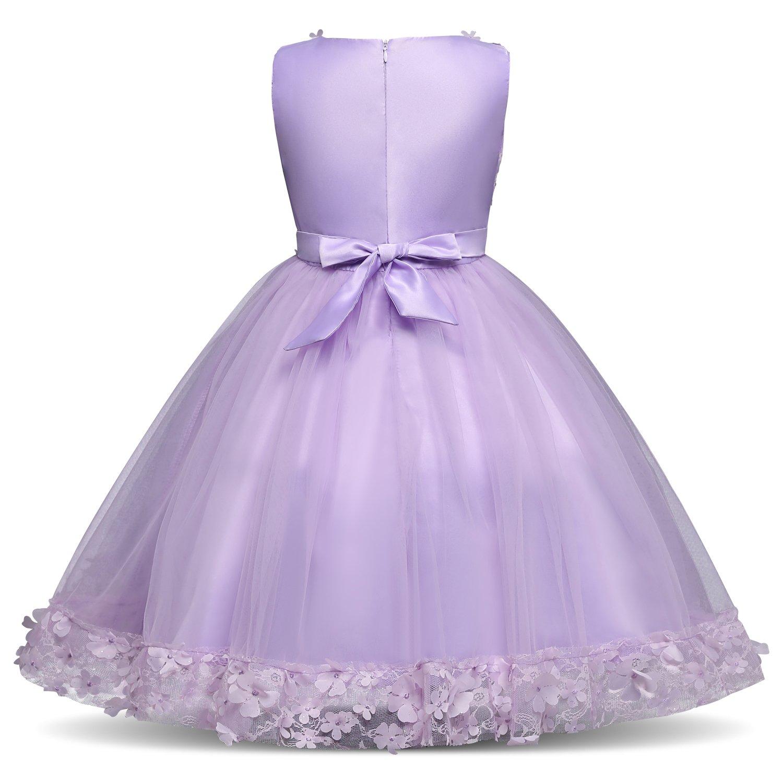 NNJXD Vestidos de Fiesta de la Boda de la Princesa de la Flor del ...