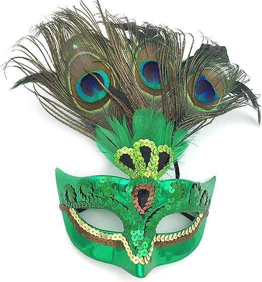 Coxeer máscara de Baile de Pavo Real para Mujer, máscara de Plumas ...
