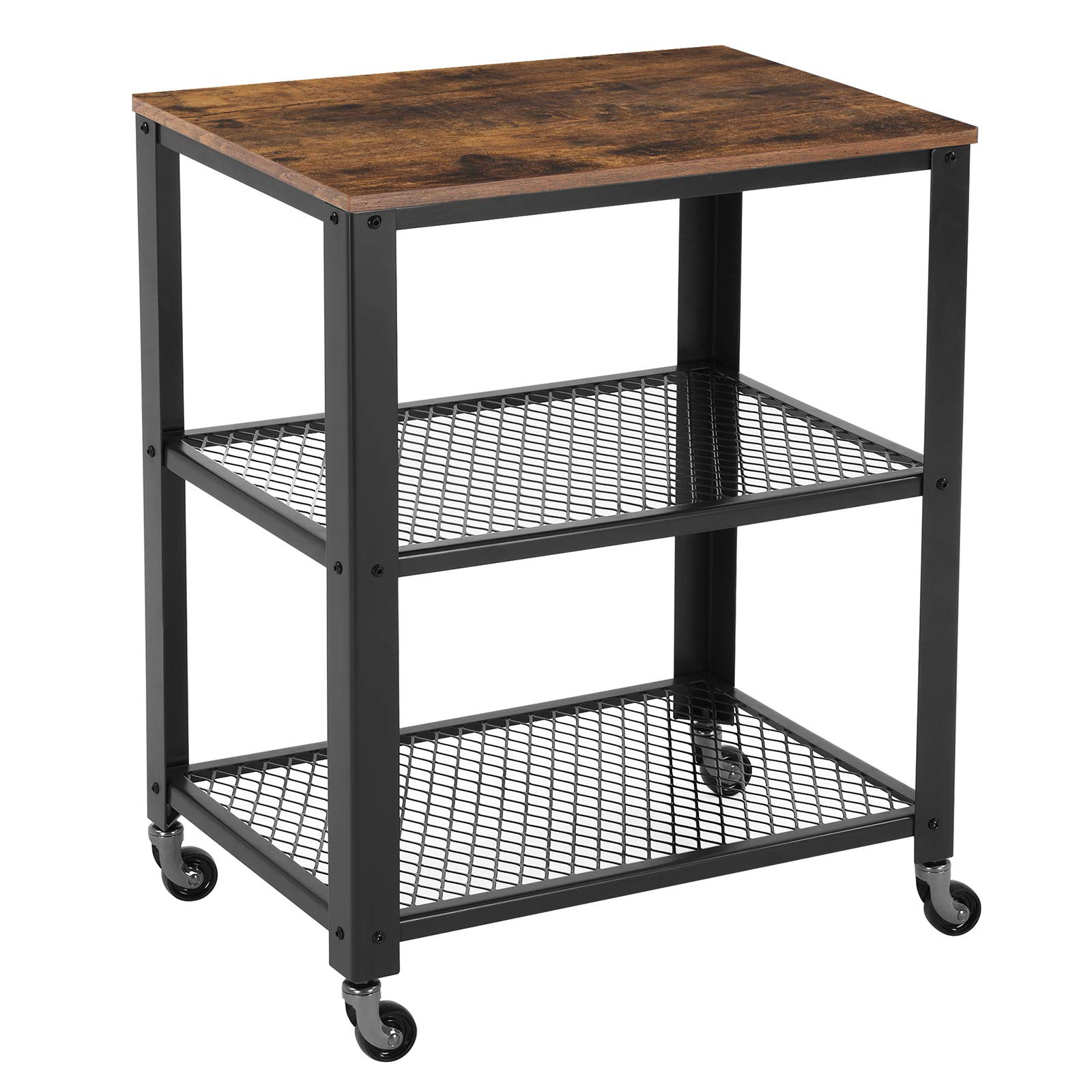 VASAGLE Industrial Serving Cart, 3-Tier Kitchen Utility Cart on Wheels with Storage for Living Room, Wood Look Accent Furniture with Metal Frame ULRC78X by VASAGLE