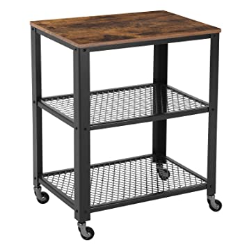 Vasagle Industrial Serving Cart 3 Tier Kitchen Utility Cart On Wheels With Storage For Living Room Wood Look Accent Furniture With Metal Frame