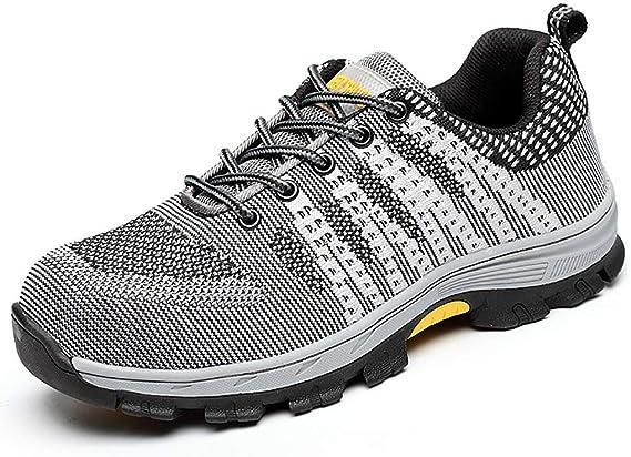 Zapatos de seguridad Calzado de trabajo deportivo de acero for hombres que vuela. Calzado de seguridad liviano, puntera de acero, transpirable, anti ácaros, a prueba de pinchazos, verano, transpirable: Amazon.es: Hogar