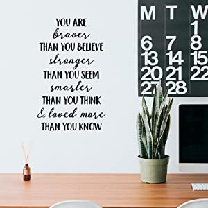 """Vinyl Wall Art Decal - You are Braver Than You Believe - 28"""" x 17"""" - Inspirational Positive Self Esteem Quote for Home Bedroom Living Room Office Workplace Classroom Indoor Decoration (Black)"""