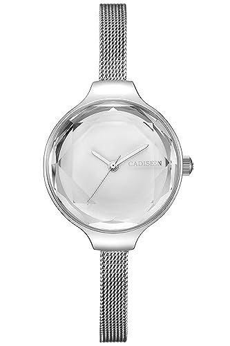 para Mujer Elegante Color Plateado Casual Vestido muñeca Relojes Cuarzo de Acero Inoxidable Reloj de Pulsera para Mujer: Amazon.es: Relojes