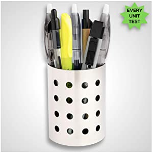 7 Ruby Road Magnetic Pen and Pencil Holder Cup for Refrigerator, Whiteboard, Locker Modern Stainless Steel Metal Storage Organizer Basket for Marker, Pens, Writing Accessories, School Supplies