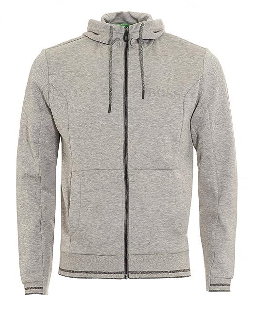 6748c905d BOSS Hugo Green Mens Saggy Hoodie Light Grey Hooded Sweatshirt: Amazon.co.uk:  Clothing