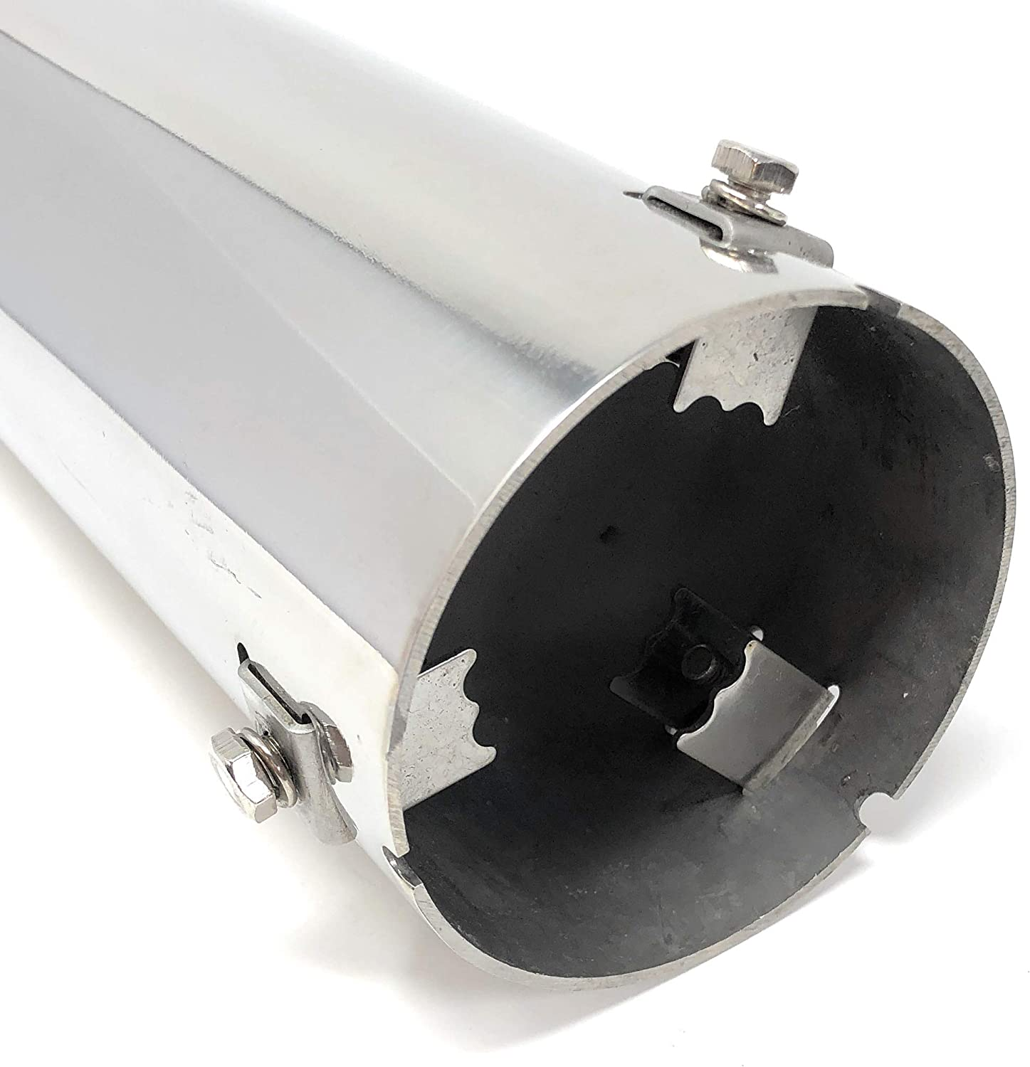 "inlet 16... Stainless Steel Angle Cut Exhaust Tip with Adjustable 2/""-3.25/"" ID"