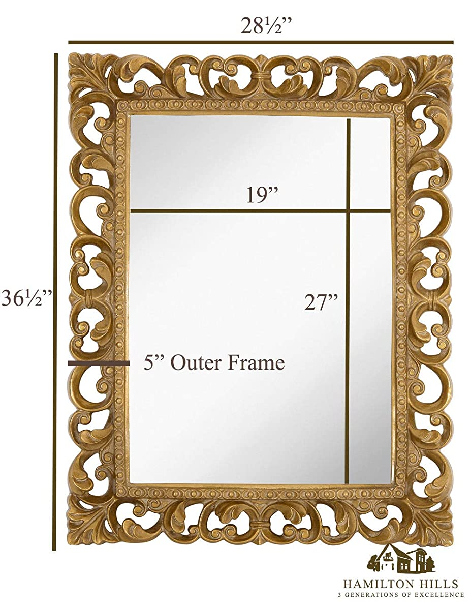 "Hamilton Hills Antique Gold Ornate Baroque Frame Mirror | Elegant Old World Feel Beveled Plate Glass Mirrored Design | Hangs Horizontal or Vertical (28.5"" x 36.5"")"