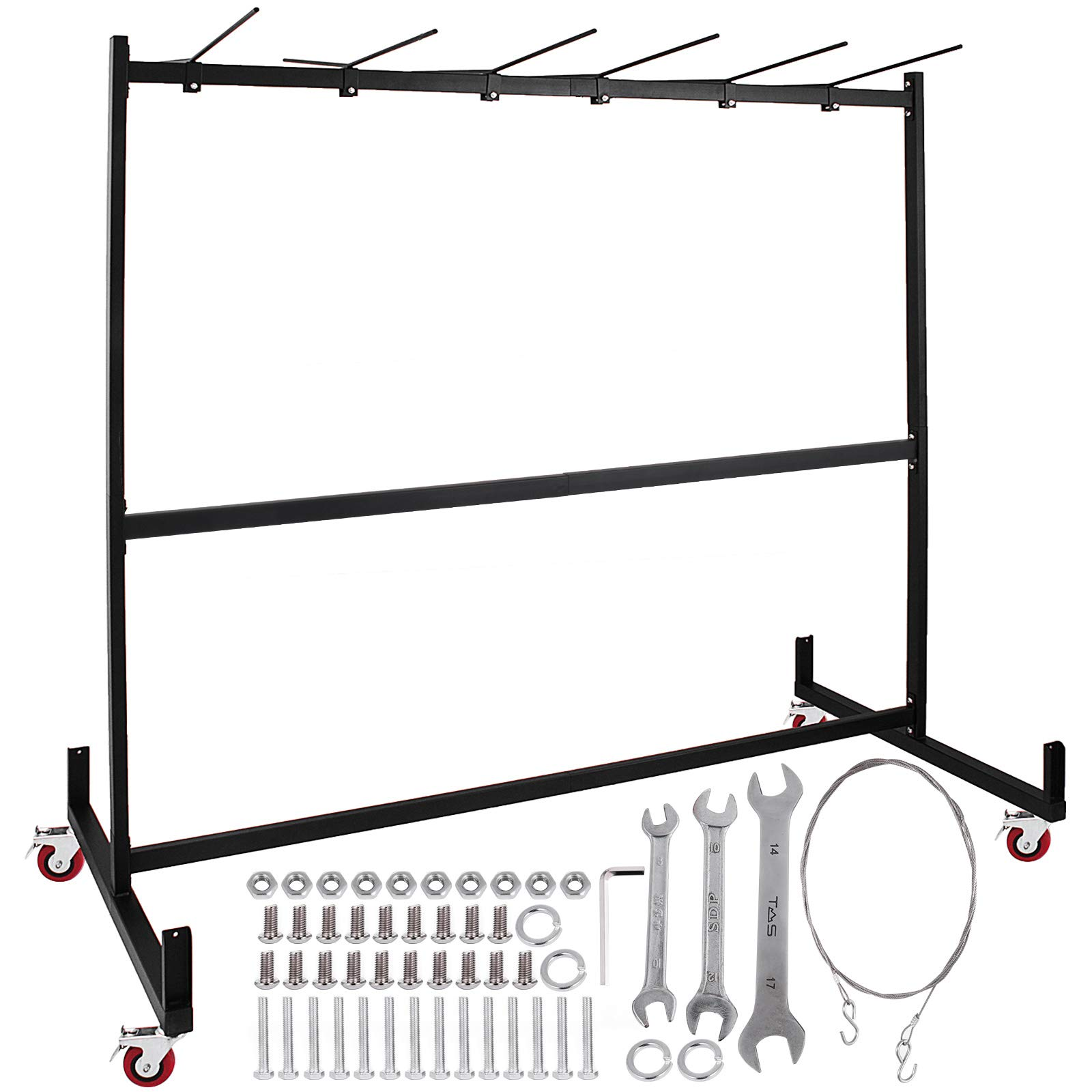 Happybuy Folding Chair Rack Dolly Cart with Locking Casters Transport Max 30 Chairs 12 Tables Heavy Duty Hanging Foldable Seat and Table Combo Trolly Rack Steel Folding Chair Cart by Happybuy