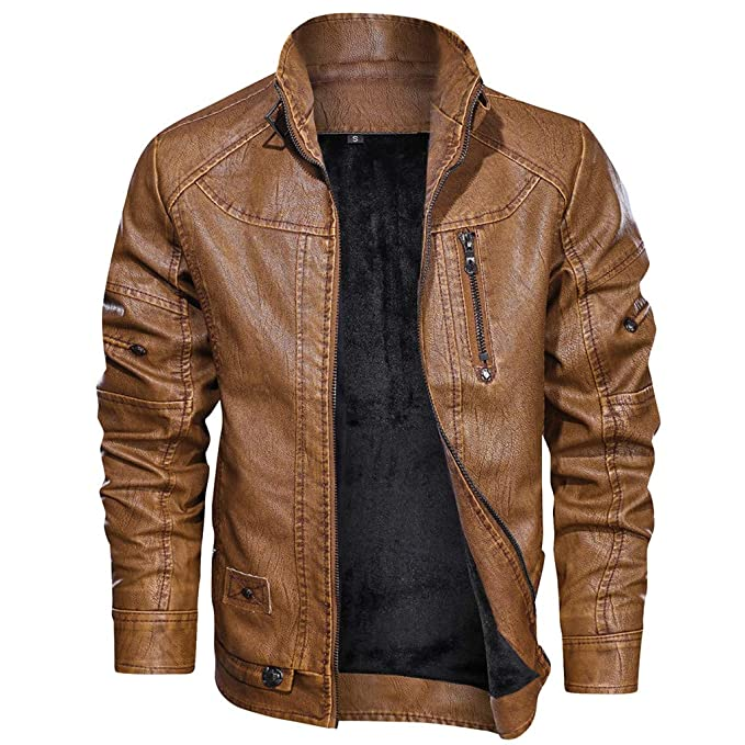 giacca lunga di ecopelle uomo marrone
