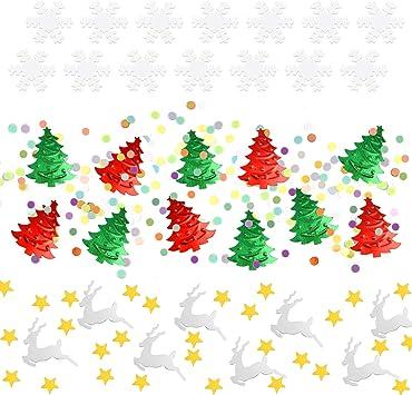 Gwhole Confettis Color/és de No/ël 100g // 4800Pcs en Forme de Pentagramme Sapins de No/ël P/ère No/ël Renne pour Table de No/ël D/écorations Artisanat DIY Flocons de Neige