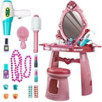 UNIH Kids Vanity Toys for 2 3 4 5 Year Old Girls Toddler Vanity Set with Mirror Chair Pretend Play Makeup Table for…