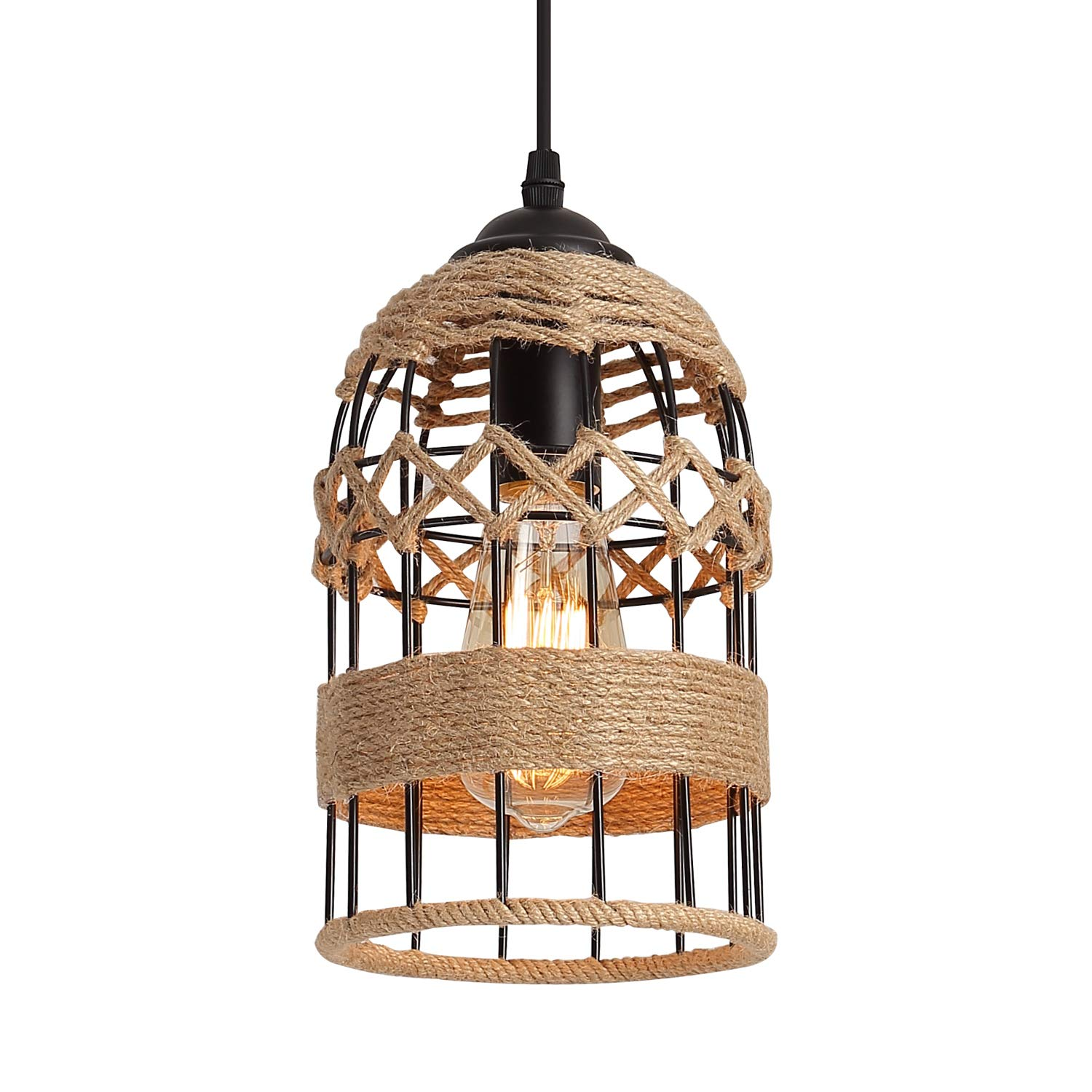 Rustic Woven Cage Pendant Light, One-Light Industrial Metal Hemp Rope Mini Pendant Lighting Fixture for Kitchen Island Cafe Bar Farmhouse, Black