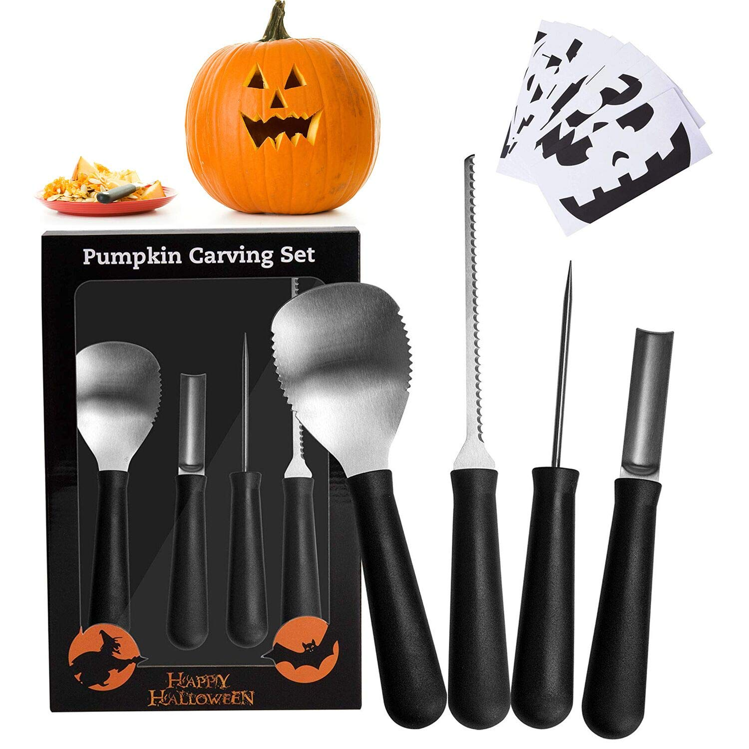 Pumpkin Carving Kit,Spoons, Knives, Professional Heavy Duty Stainless Steel Pumpkin Carving Tools Set for Kids and Adults, Easily Carve Sculpt Halloween Lantern Sculpting Set 10 Carving Stencils HEV016WOOL