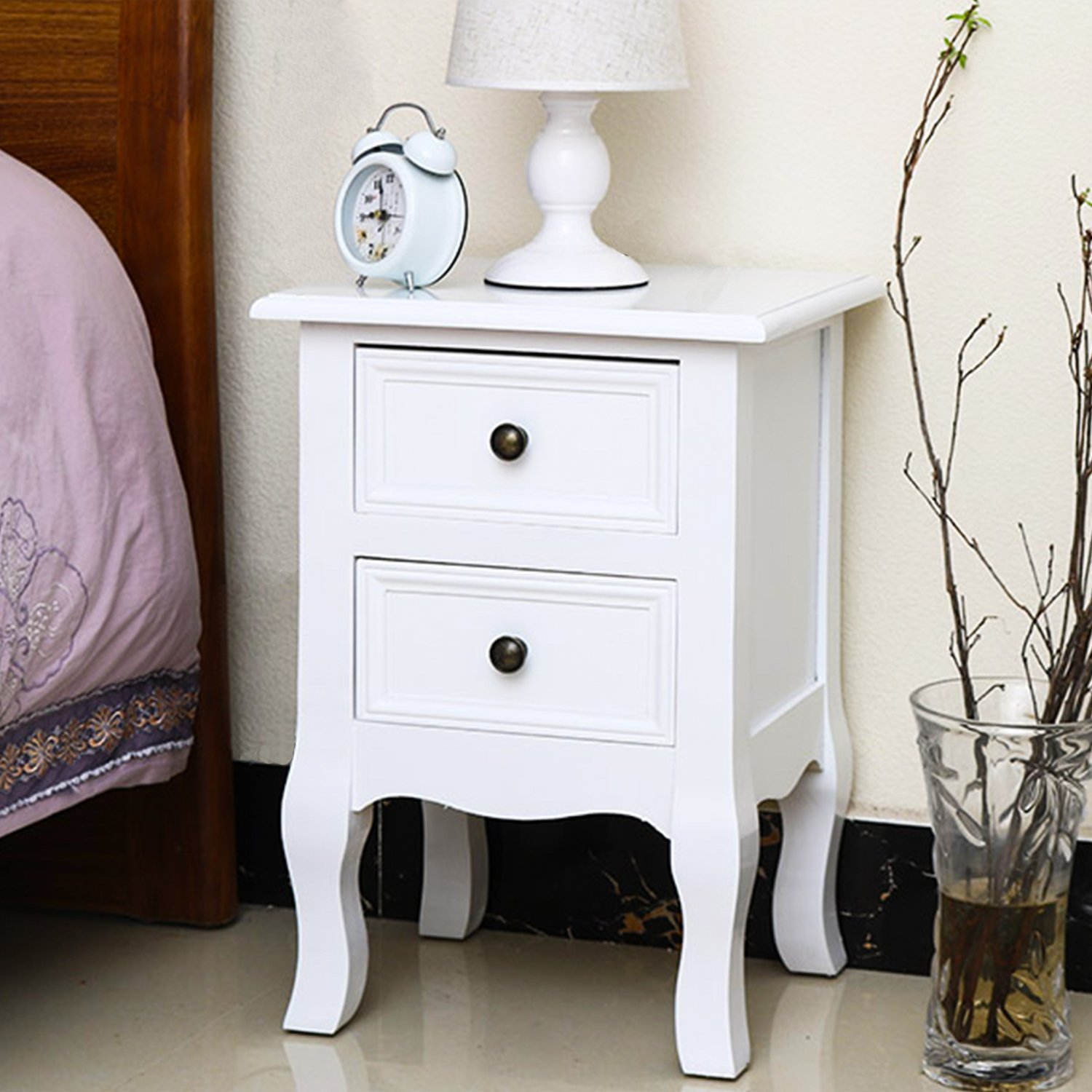 Jerry & Maggie - Mini Nightstand Classic White Loyal Luxury Style - 2 Tier Curving Pattern Sides Night Stand Storage Bedside Table with 2 Drawer Real Natural Paulownia Wood   4 Long Legs White