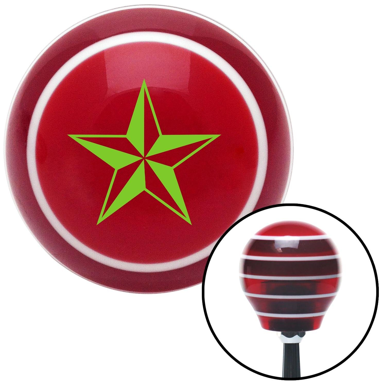 Green 5 Point 3-D Star American Shifter 118890 Red Stripe Shift Knob with M16 x 1.5 Insert