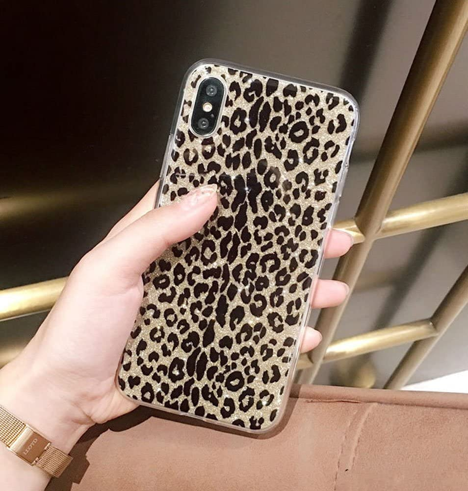 iPhone X Case, iPhone 10 Case, Ebetterr Glitter Sparkle Bling Case for Girls Women Slim Fit Anti Scratch PC Hard Back + Flexible Soft TPU Bumper Protective Cover for iPhone X (2017) Leopard