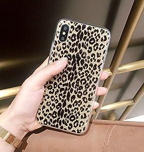 iPhone X Case, iPhone 10 Case, Ebetterr Glitter Sparkle Bling Case for Girls Women Slim Fit Anti Scratch PC Hard Back + Flexible Soft TPU Bumper Protective Cover for iPhone X (2017) Leopard