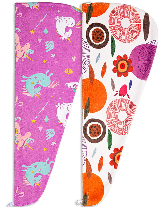 Microfiber Hair Towel, 2Pack Hair Drying Towel Unicorn Hair Towel Quick Dry Turban Towel Hair Wrap for Kids Girls Women : Beauty