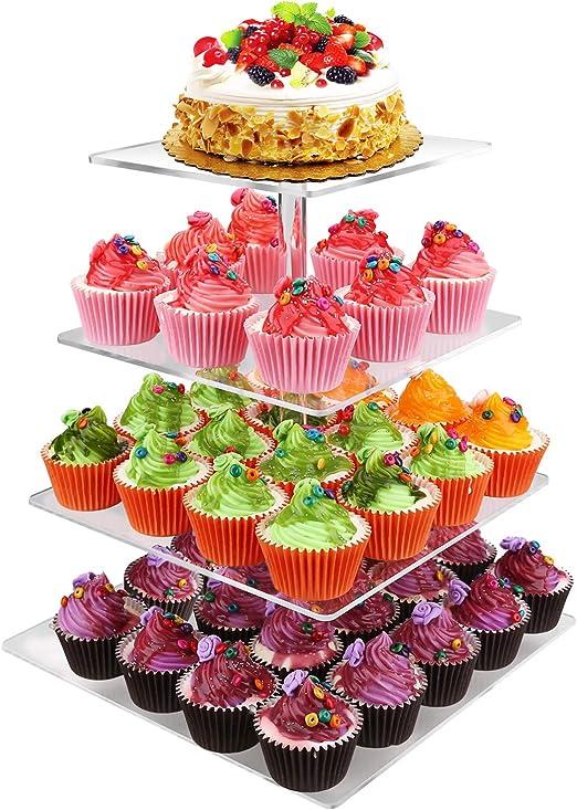 Wondrous Amazon Com Gifbera 4 Tier Square Cake Cupcake Stand Luxury Personalised Birthday Cards Beptaeletsinfo
