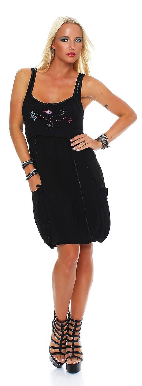 Damen Kleid ohne Ärmel Ziernähte Tunika Schwarz Grau ...