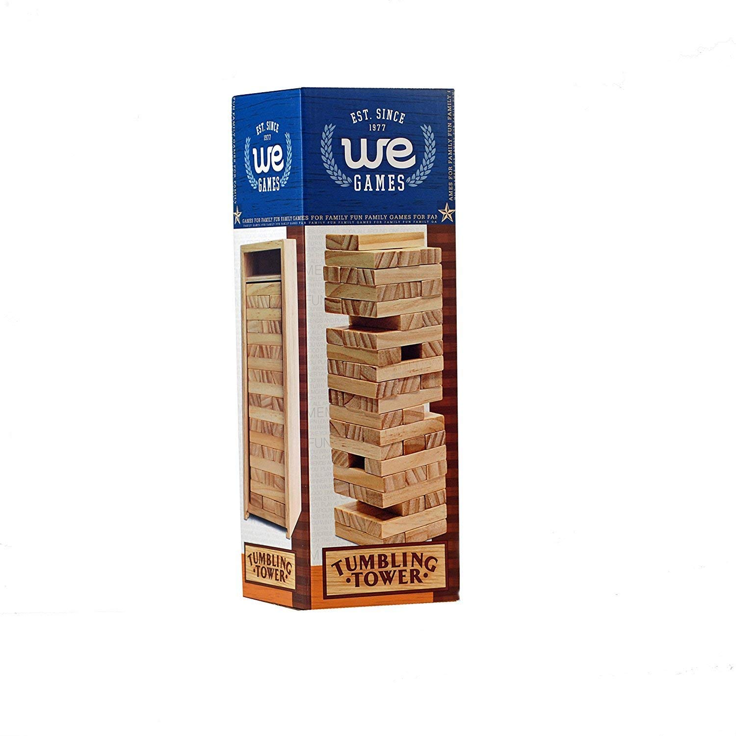 WE Games Custom Engraved Wedding Guest Book Wood Block Stacking Tower That Tumbles Down When You Play (12 Inch When Packaged)