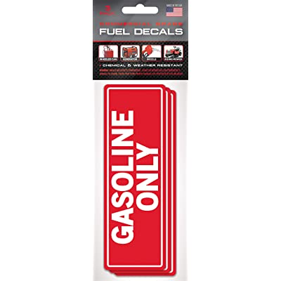 Gasoline Only - Fuel Tank Stickers - (3 Pack) 6 inch x 2 inch – Extreme Stick Adhesive - Confusion Proof (Gasoline Only): Arts, Crafts & Sewing