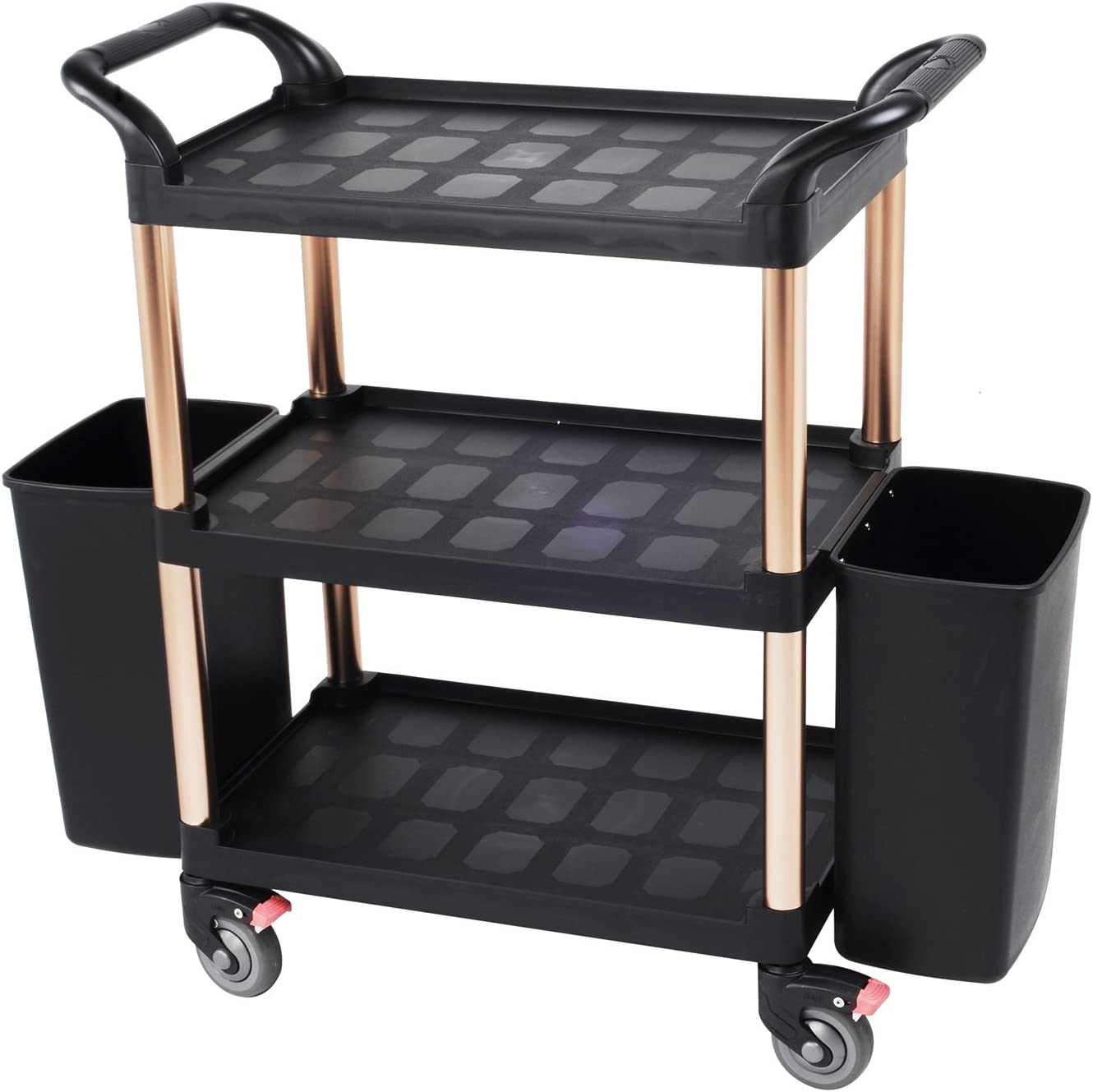 SCC-03 AMENITIES DEPOT Serving Cart 3-Tier Kitchen Trolley Cart with 2 Buckets and Brake Wheels