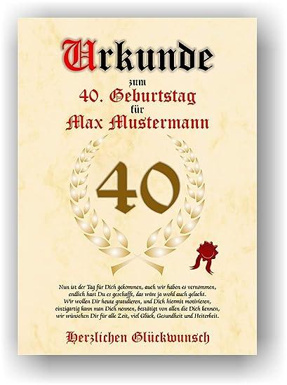 Documento para el 40º cumpleaños - Tarjeta de felicitación ...