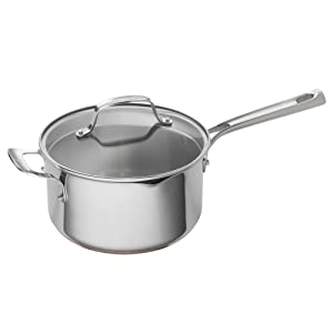 Emeril Lagasse 62898 Stainless Steel Copper Core Saucepan, 4-Quart, Silver