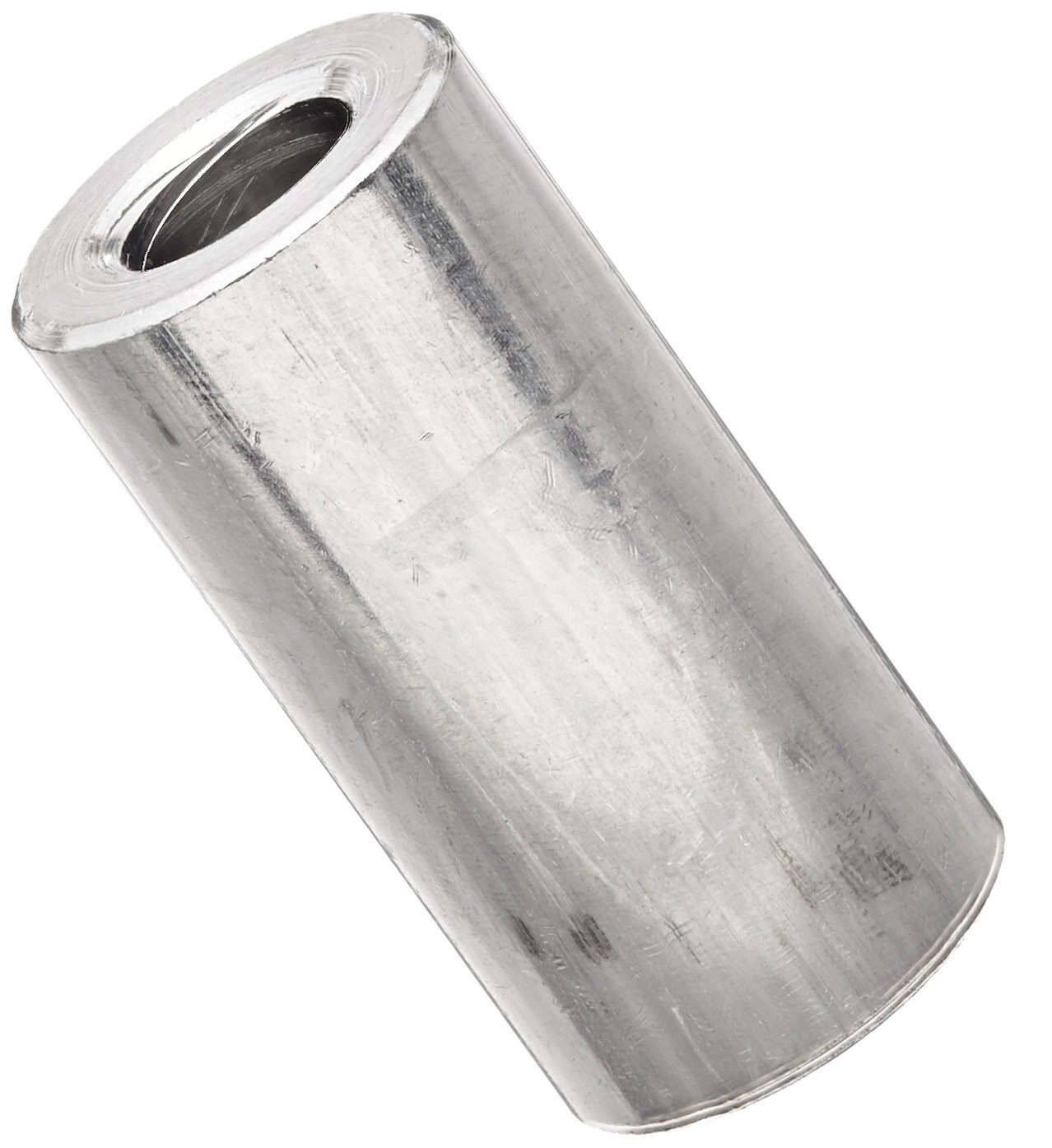 Round Spacer, Aluminum, Plain Finish, 1/4'' Screw Size, 1/2'' OD, 0.252'' ID, 1'' Length, Made in US (Pack of 5)