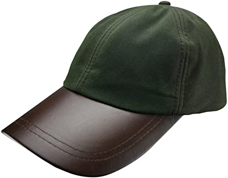 Mens Game Waxed Cotton Leather Peak Baseball Cap Fishing Shooting Hunting  Hat (Olive) ff3d7ccb8ad