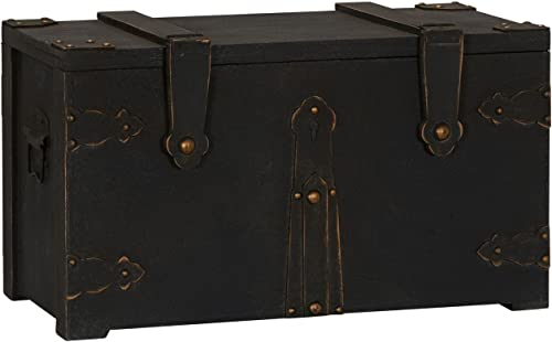 Household Essentials G.O.T. Wooden Small Standard Trunk, Black