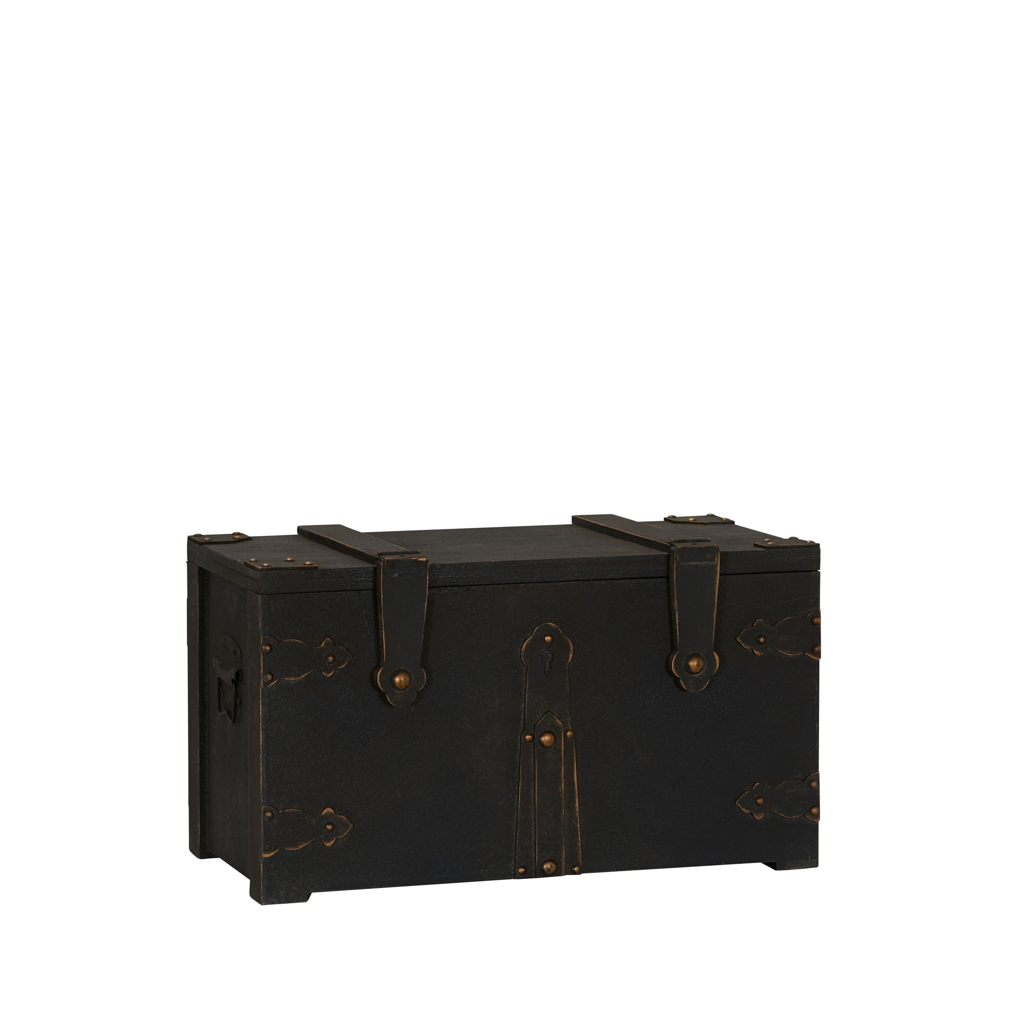 Household Essentials G.O.T. Wooden Trunk Standard, Small, Black