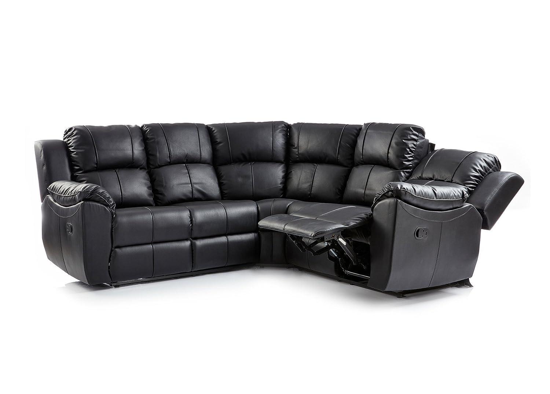 Cool Lovesofas Valencia 2C2 Bonded Leather Recliner Corner Sofa Suite Black Beatyapartments Chair Design Images Beatyapartmentscom
