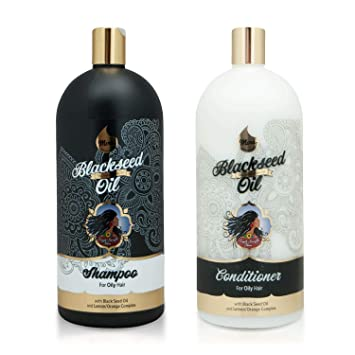 Mera Indian Amla Oil - Shampoo & Conditioner - Black Seed Oil and  Lemon-Orange Complex for Oily Hair
