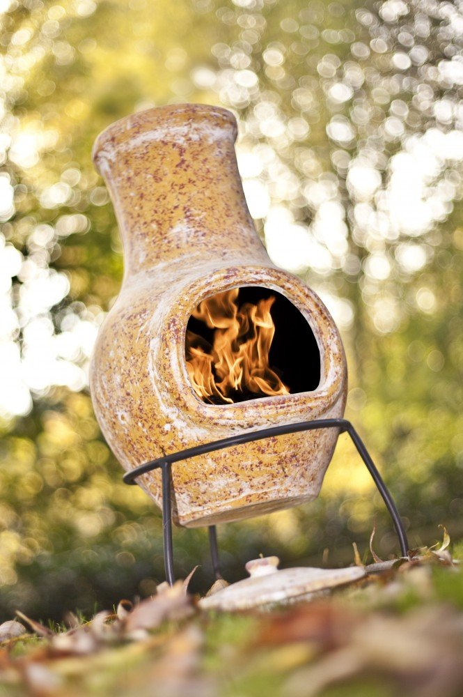 La Hacienda Small Yellow Clay Chiminea Chimenea Patio Heater Campeggio 67032 LAH67032
