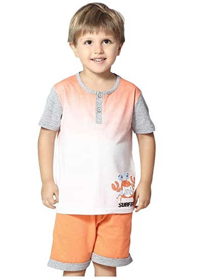 d0381aa6a7c Night Suit for Toddlers - White and Orange Color - Soft Sinker Material -  Plain Night Suit - Half Sleeves Tshirt and Bermuda Set - Available for  2 3 4 5 6 ...