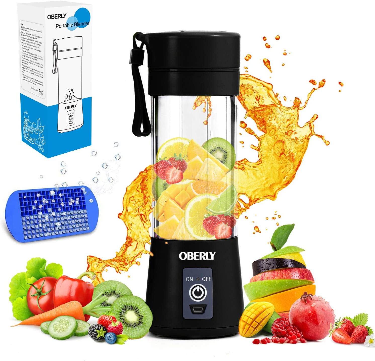 OBERLY Portable Blender, Smoothie Juicer Cup - Six Blades in 3D, 13oz Fruit Mixing Machine with 2000mAh USB Rechargeable Batteries, Ice Tray, Detachable Cup (FDA, BPA Free)