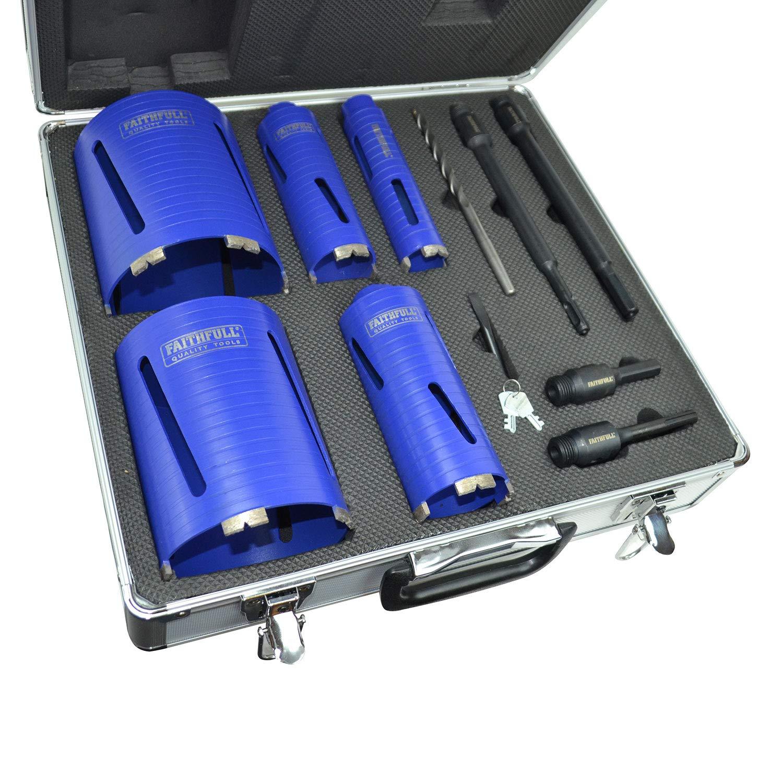 Faithfull FAIDCKIT7 Diamond Core Drill Kit with Case (Pack of 7)