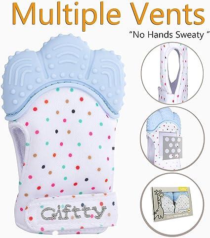 Unisex Babies Teething Glove Giftty Baby Teething Mitten Self Soothing Teething Mitt Smile Teether Toy 1 Pair of Pink Teething Pain Relief
