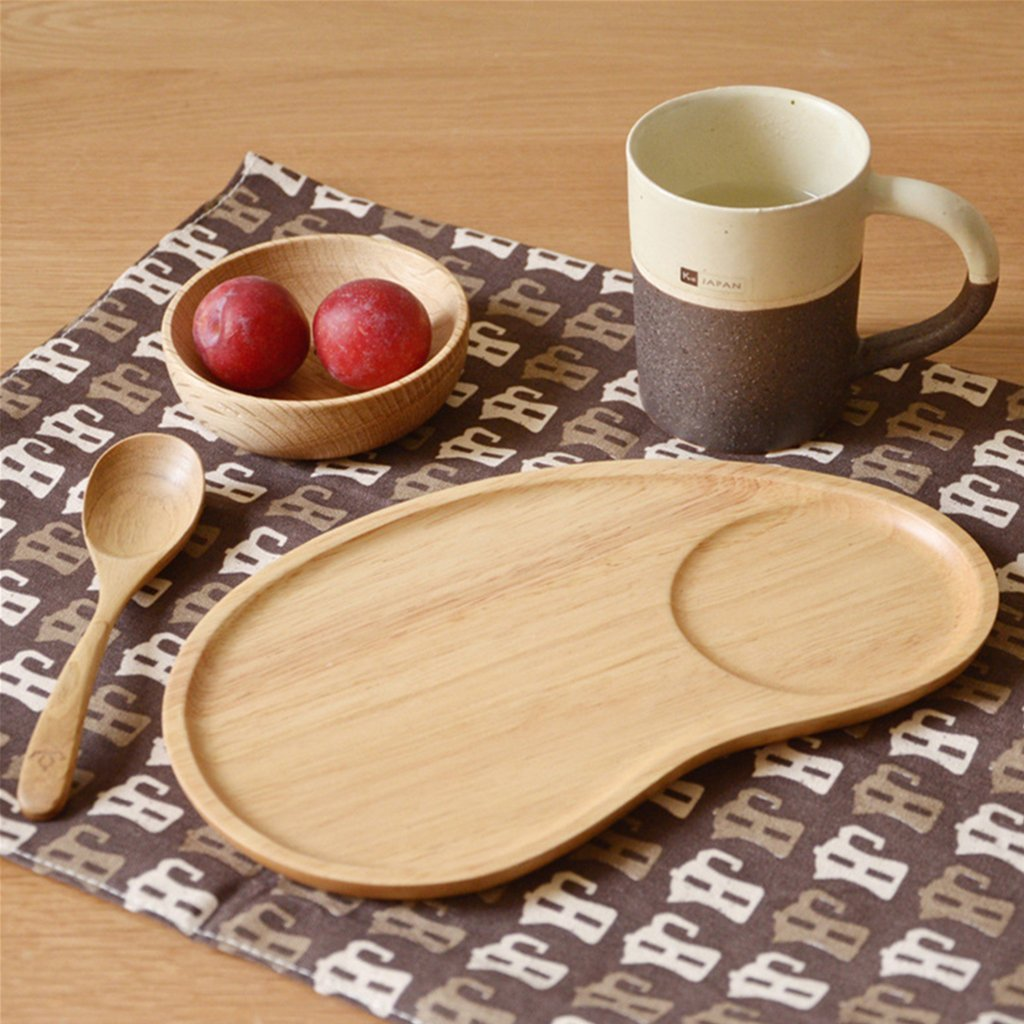 Set of 2 Fancy Wooden Platter Small Serving Tray Kids Plate for Appetizer, Cheese, Salad, Dessert Divided Dish by Ren Handcraft (Image #2)