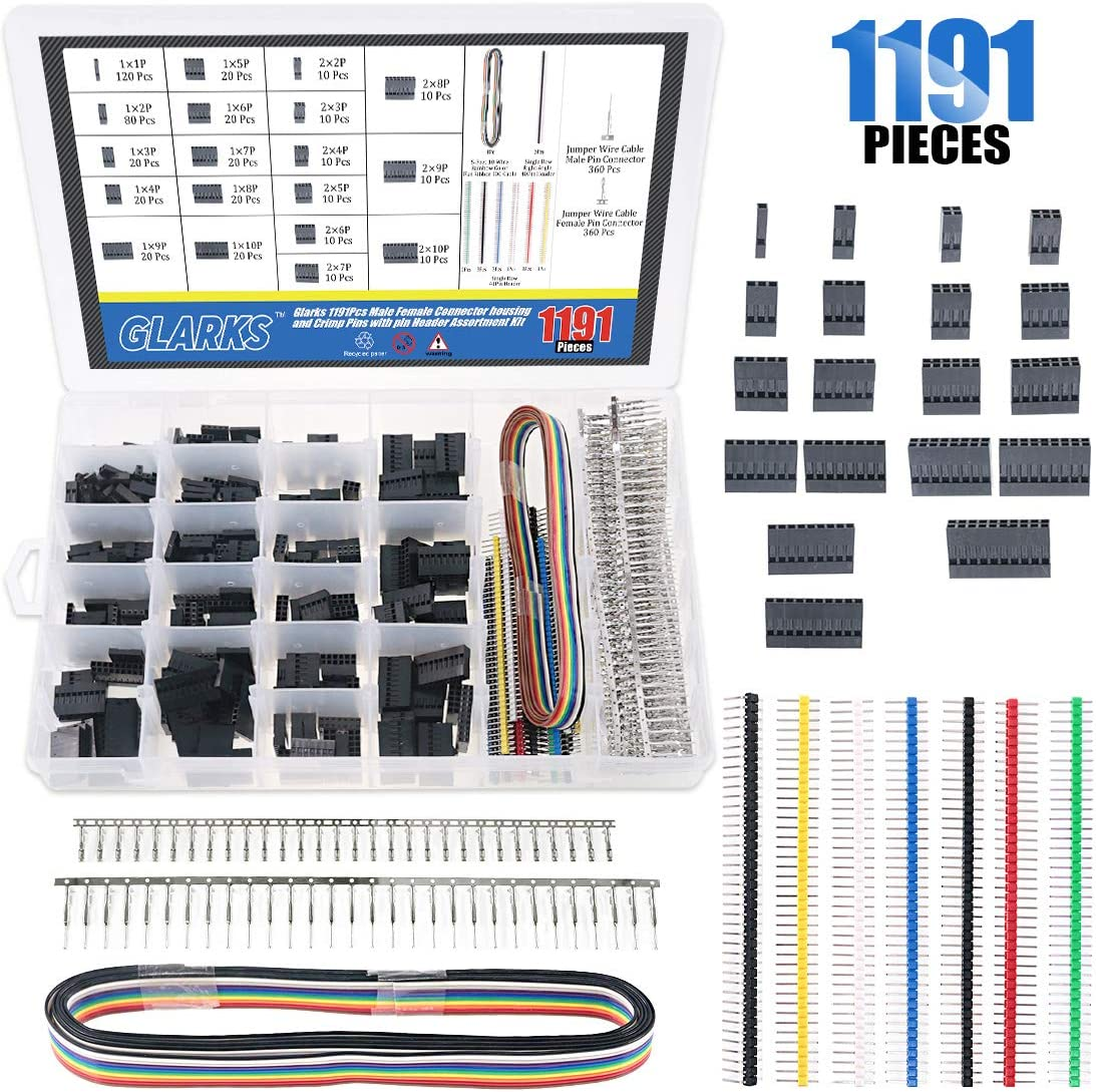 Glarks 1191Pcs 2.54mm Pitch 1 2 3 4 5 6 7 8 9 10 Pin Housing Connector and Male Female Crimp Pins with Pin Header and 10 Wire Rainbow Color Flat Ribbon IDC Cable Compatible with Dupont Connector Kit