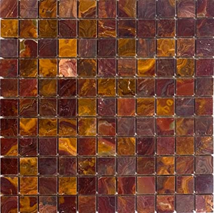 Epoch Tile Re1x1 1x1 Polished Onyx Red Ceramic Floor Tiles