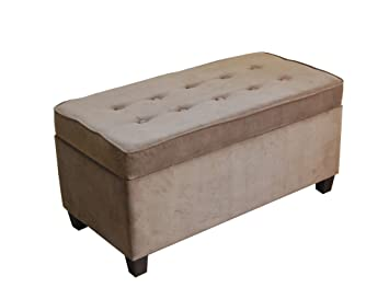 Kinfine Button Tufted Rectangle Ottoman Storage Bench With Hinged Lid,  Velvet Mocha