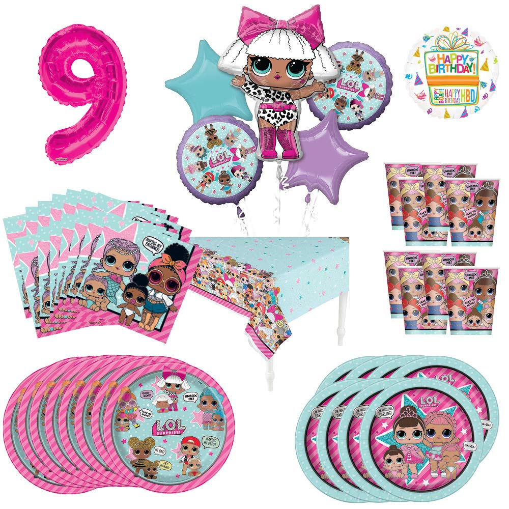 L.O.L. Surprise! 9th Birthday Party Supplies 8 Guest Decoration Kit and Balloon Bouquet