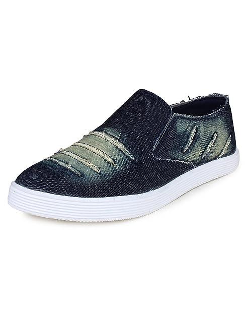 0fbb1396cc9 Red Rose Men s Blue Black Denim Loafer Shoes (9