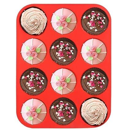 longay 12 Copa Silicona Muffin Cupcake molde para hornear antiadherente apta para lavavajillas se puede usar