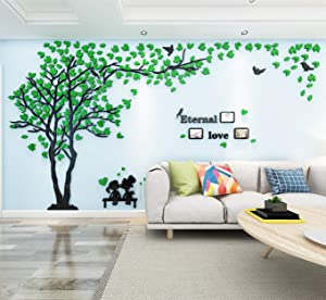 3D Tree Wall Stickers DIY Family Photo Frame Tree and Birds Wall Decals Tree Stickers Murals Décor for Nursery Living Room Bedroom Home Decorations(Frame Tree-Green Left,M-79X39in)