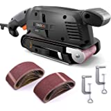 Belt Sander 3 × 18-Inch, 13Pcs Sanding Belts, Tacklife Bench Sande with 10Feet(3M) Power Cord, Variable-speed Control, Fixed Screw Clamp, Dust Box, Vacuum Adapter - PSFS1A