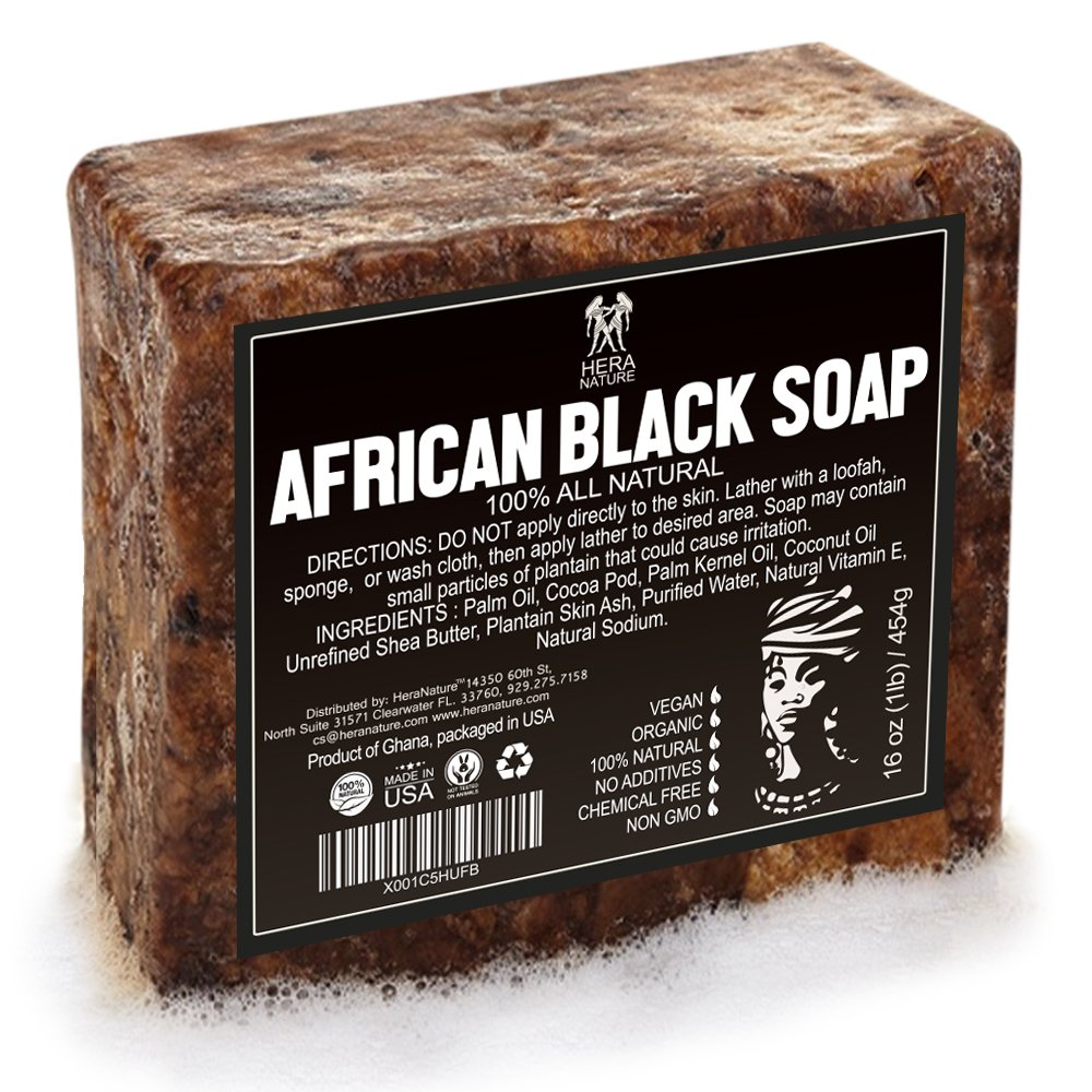 Best Raw ORGANIC AFRICAN NATURAL BLACK SOAP, for Acne Treatment, Eczema, Dry Skin, Psoriasis and Scars. 100% Pure & Natural, Imported From Ghana - 1lb (16oz) Hera Nature